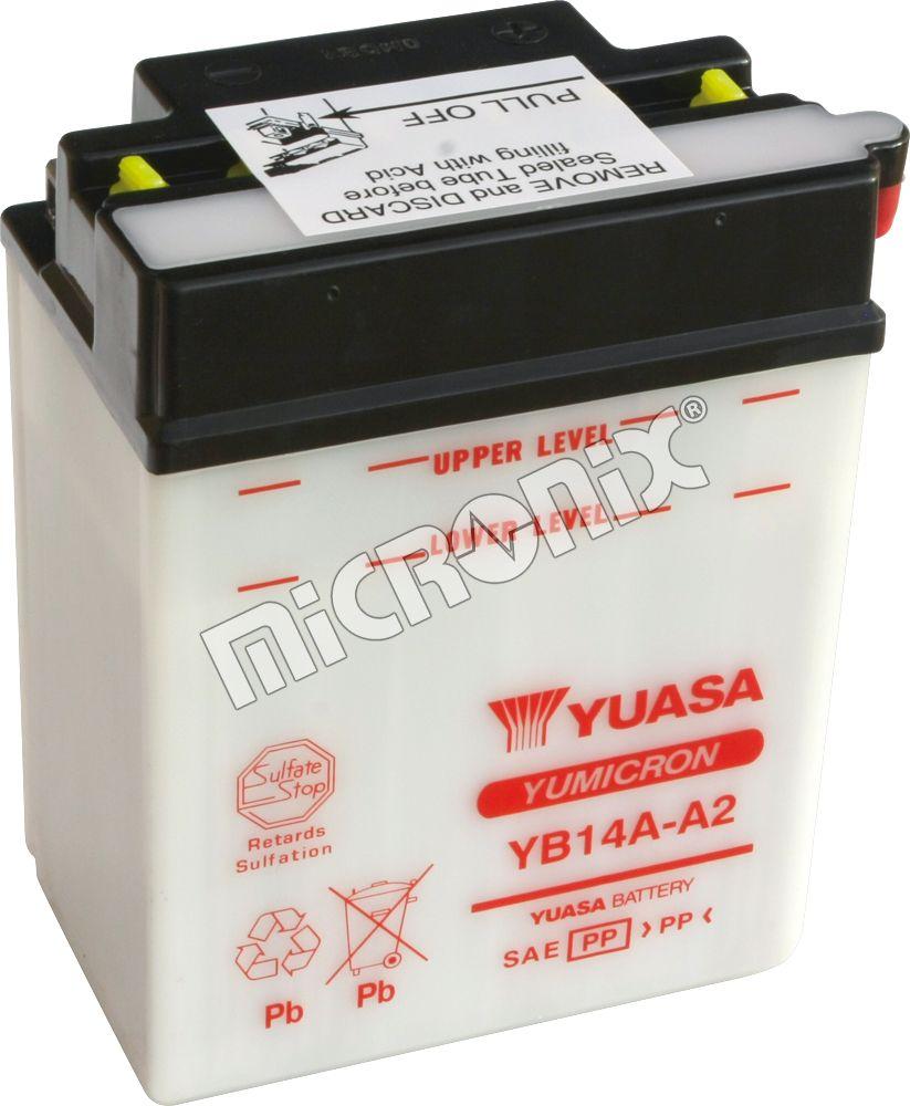 YUASA BATTERY YB14A-A2 open without acid